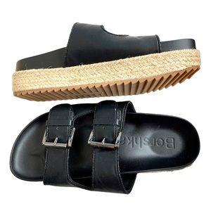 Bershka Black Slip On Platform Sandal